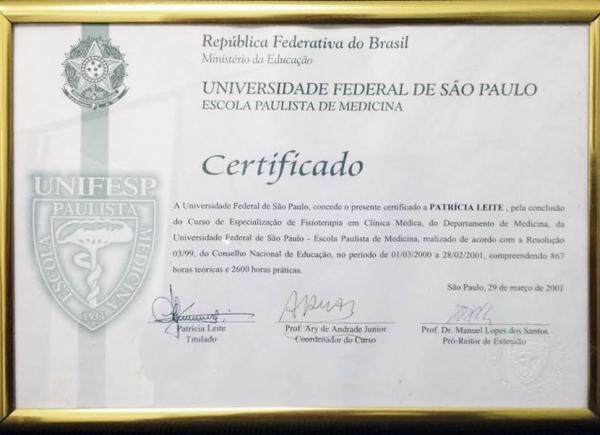 Certificado do Curso de Especialização de Fisioterapia em Clínica Médica pela UNIFESP - 29 de março de 2001