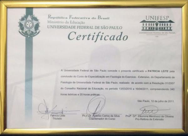 Certificado do Curso de Especialização em Fisiologia do Exercício pela UNIFESP - 12 de julho de 2011