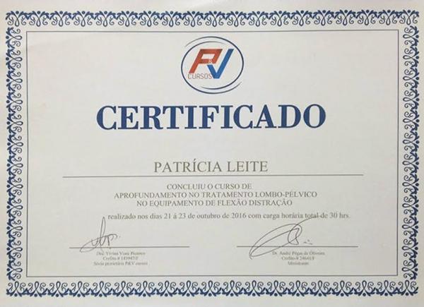 Certificado do Curso de Aprofundamento no Tratamento Lombo-Pélvico no Equipamento de Flexo-Distração pela RV Cursos - 21 a 23 de outubro de 2016