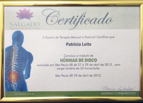 Certificado do Curso de Hérnias de Disco pelo Instituto Salgado - 29 de abril de 2012
