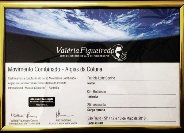 Certificado do Curso Movimento Combinado - Algias da Coluna pelo Instituto Internacional Manual Concepts - Austrália - 12 e 13 de maio de 2010