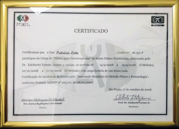 Certificado do Curso de Pilates para Fisioterapeutas pela Salute Pilates - 17 de outubro de 2008